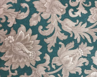 3 Yards of Vintage Green and Taupe Floral Print Cotton Fabric