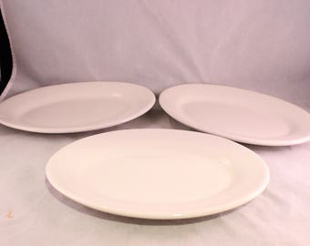 Set of 3 Vintage White Ironstone Restaurant Ware Oval Platters