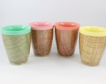 Set of 4 Vintage 1960's Era Raffia Ware by Thermo Temp Insulated Melamine Glasses