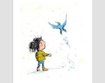 Bluebird giclee print, wall art, illustration