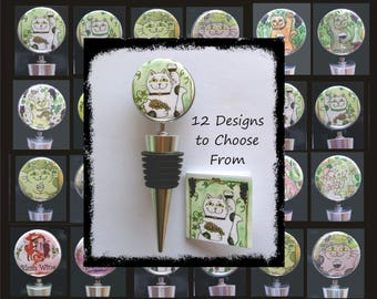 Whimsical Wine Stoppers with Mini Descriptive Card - 12 Designs to Choose From