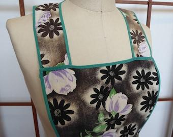 Vintage Black Floral Bib Apron