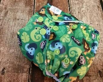 Newborn AI2 Cloth Diaper Natural Cotton Jungle Buddies