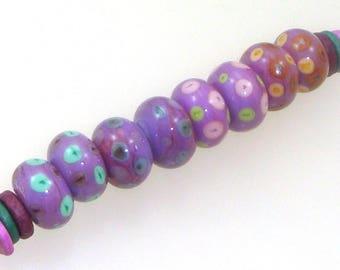 Handmade Lampwork Glass Beads - 8 bead set. Dot reactions on EDP purple. Earring pairs, jewelry supplies.