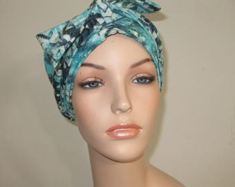 Turquoise Ethnic Print Chemo Scarf, Hat, Cancer Hat, Hijab, Alopecia