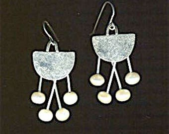 Mid Century atomic age half moon dangle earrings freshwater pearls