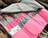 """EXTRA LARGE Knitting Needle Storage Clutch Roll Case Organizer holds 14"""" Long Straight, Circular & Double Pointed Needles, Gray and Pink"""