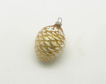 Vintage Christmas Glass Ornament Small Gold Pine Cone Feather Tree