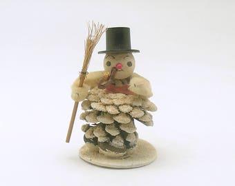 Vintage Christmas Decoration Pine Cone Snowman