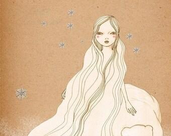 Sale Polar Bear Girl Deluxe Edition Print of original drawing