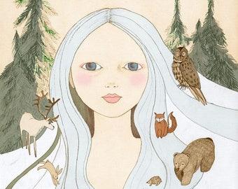 Sale Forest girl,  illustration art print of original drawing