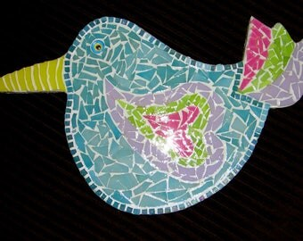 Blue Bird of Happiness and Love Mosaic Art