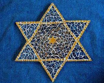 Mosaic Star of David One of a Kind Original Art Home Decor Gift Under 50 Dollars