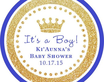 DIY Printable File- It's a Boy! Gold Glitter Blue Royal Prince round sticker /thank you tags for bday party,baby shower- Avery Label 22807