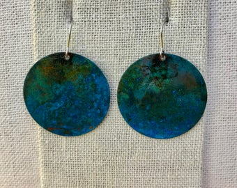 Copper Earrings with Blue and Green Patina #2