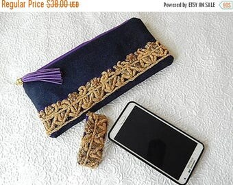 CLEARANCE - Denim purse, beaded purse,  gold beaded pouch, fabric purse, zippered pouch, fashion accessory, womens accessory
