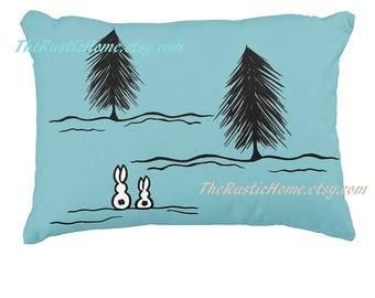 Winter bunnies toss pillow snow bunnies pine trees bunny rabbit pillow custom pillows accent pillow rustic home decor rabbits personalized