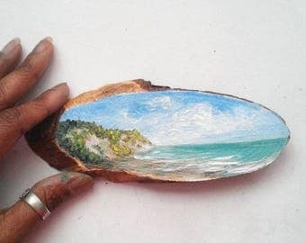 """Mini Oil Painting Grassy Cliff by the Beach on Wood Slice 2.5"""" x 6.25"""" almost READY TO SHIP"""