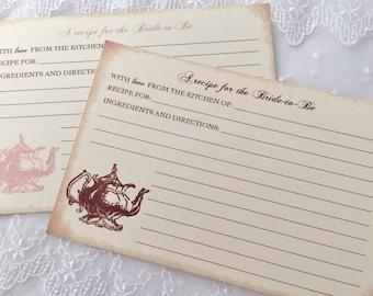 Tea Party Recipe Cards Bridal Shower Recipe Cards Set of 10