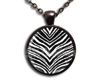 25% OFF - Zebra Animal Print - Round Glass Dome Pendant or with Necklace by IMCreations -  PT109