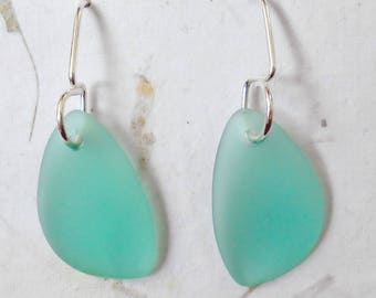 Sea Glass Sterling Silver Earrings Vintage Aqua Beach Glass