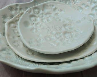 Porcelain, large white set of serving dishes. Ocean pottery nesting plate set. Coastal decor. Serving plates, white pottery bowl. Starfish