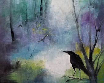 """A Journey of Crows Oil Painting 4x4""""  Original"""