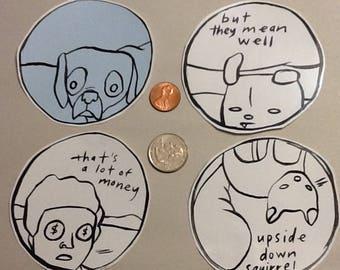 "12 piece sticker pack, ""intellectual"""