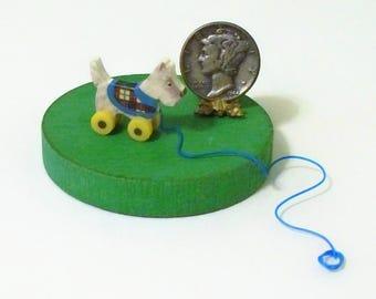 White Scottie Scotty Dog Pull Toy Dollhouse Miniature