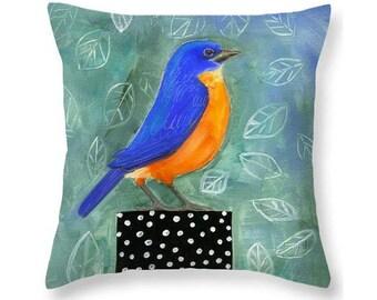 Art Pillow, Nature Throw Pillow, Bird, Leaves, Green, Blue, Polka Dot, Blue bird, Cotton Pillow