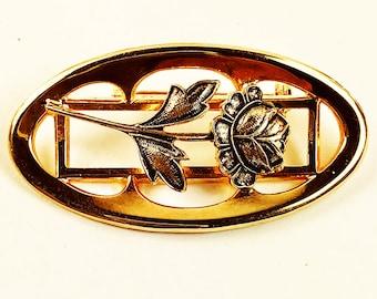 Oval Brooch - Rose Motif Brooch - Gold Tone Vintage