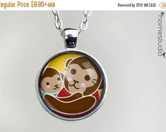ON SALE - Monkey Love : Glass Dome Necklace, Pendant or Keychain Key Ring. Gift Present metal round art photo jewelry by HomeStudio