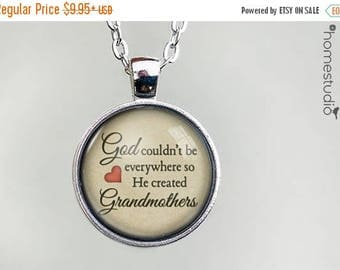 ON SALE - God Created Grandmothers Quote jewelry. Necklace, Pendant or Keychain Key Ring. Perfect Gift Present. Glass dome metal charm by Ho