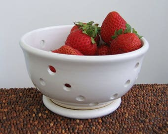 Berry Bowl with Saucer, Ceramic Berry Bowl, Modern White Stoneware Pottery, Chef Gift, Strawberry Colander, Bridal Shower or Wedding Gift