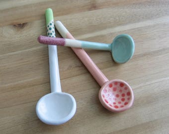 Your Choice, One Handmade Ceramic Spoon for Jam, Chutney, Sauces, Spices or Salt, Large Pottery Spoon, Housewarming Gift