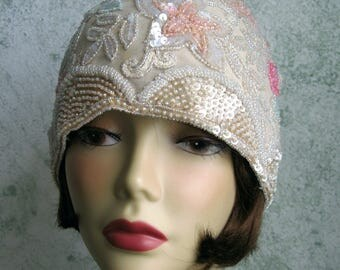 Womens Hat 1920s Beaded And Sequin Flapper Cloche Pale Beige Fabric With Pink Coral And Mint Green Seed Beads And Sequins Head Sz 21- 22