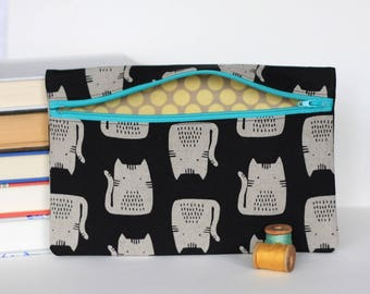 Black Cat Makeup Bag Pencil Case Handmade