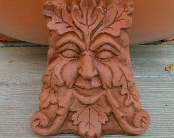 Concrete Greenman Pot Feet (Terracotta) Garden Decor Set of 3