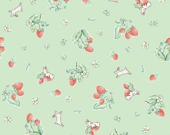 "ON SALE Penny Rose Fabrics ""Bunnies and Cream"" Mint Strawberry"