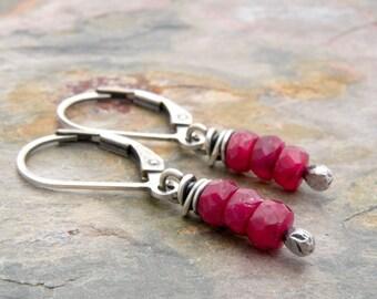 Ruby Birthstone Earrings, Minimalist Ruby Jewelry, July Birthstone Earrings, Sterling Silver, Lever Back Ear Wires, #4746