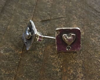 Earring Components Heart Sterling Silver Artisan ONE PAIR