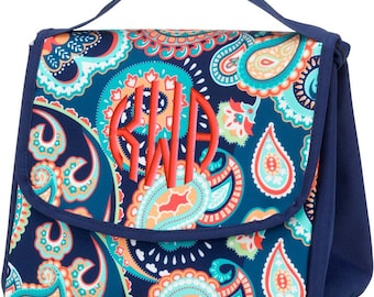Personalized Lunch Bag Paisley Monogrammed School Snack Box, Emerson