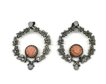 Silver Ivy Wreath Earrings with Coral and Opals