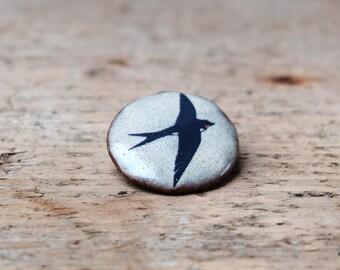 Ceramic Blue Swallow Brooch
