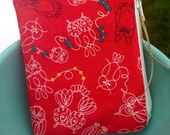 Owl zipper pouch small zipper bag red zipper pouch cotton and steel owls cute zipper bag sewing gift teacher gift coin purse