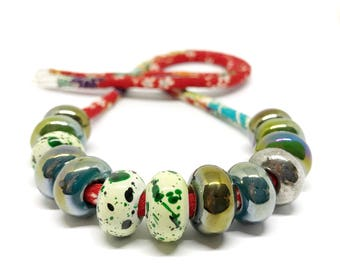 Speckled Egg Ceramic Beads on Kimono Cord Green