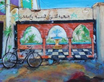 Wall Art - Art Print - Bike Art - Morroco Art - Leah Reynolds