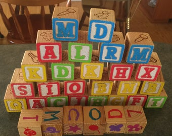 Vintage Wooden Blocks Alphabets Pictures Disney Blocks