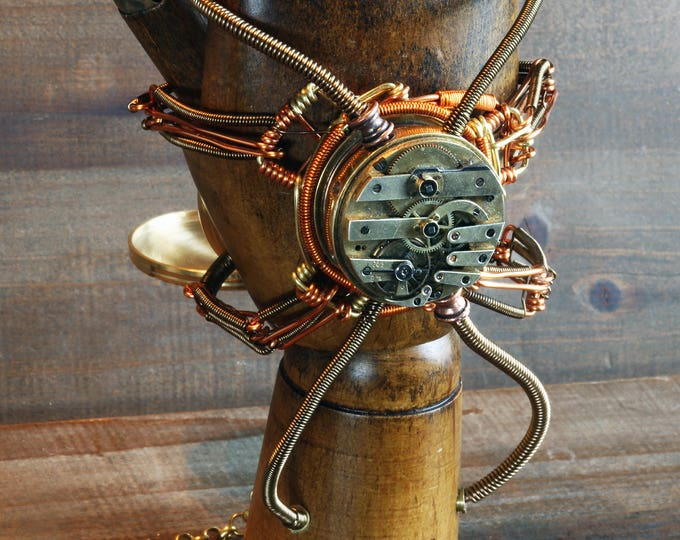 Steampunk Mechanical hand Scupture - Time travelling glove apparatus - Ring holder and pocket watch display