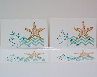 Starfish place cards...Set of 8...Blue and White...Ocean Spray..Hand Stamped...Wedding Placecards...Brides table cards...Stampin'Up! stamps!